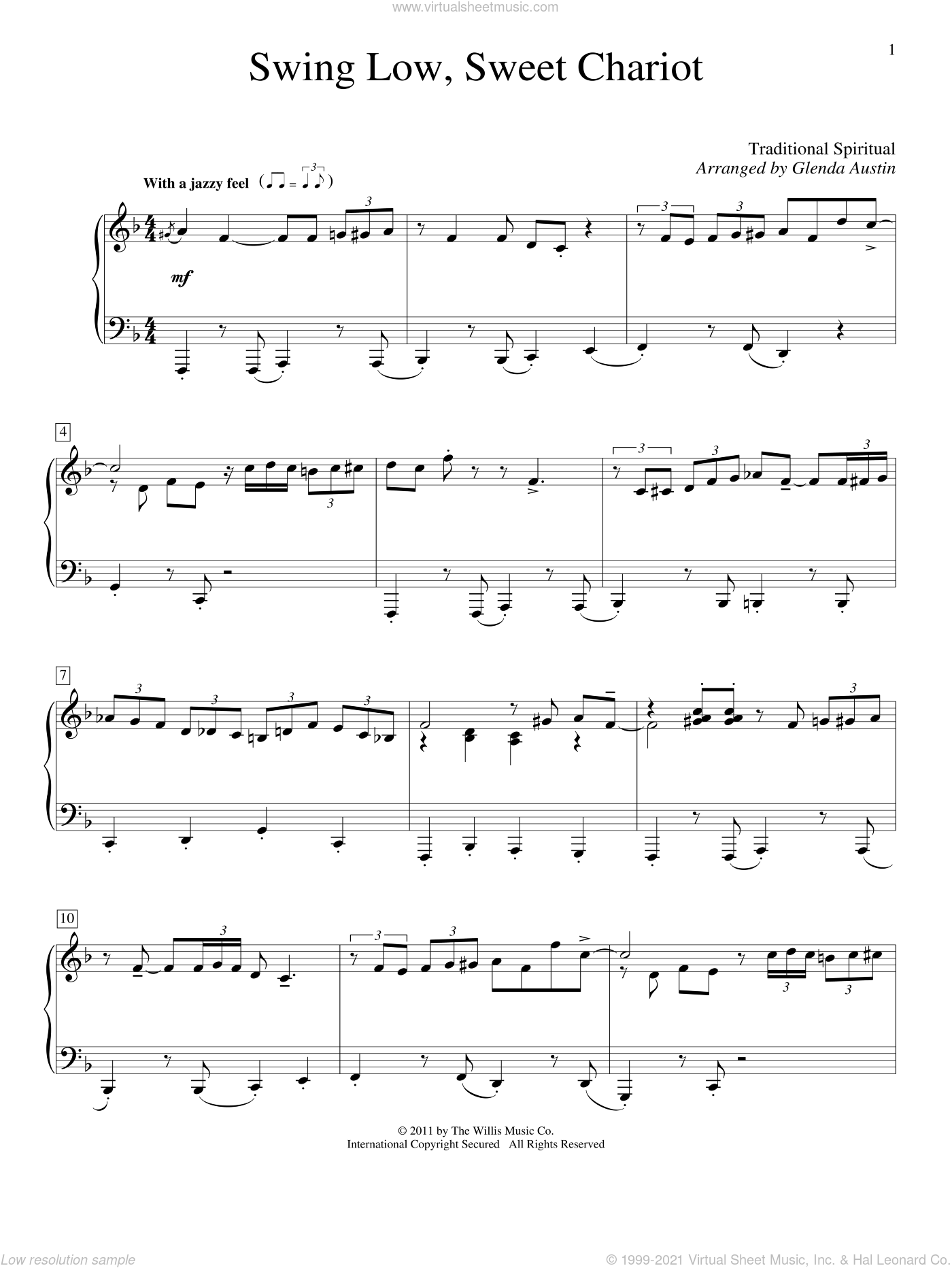 Swing Low, Sweet Chariot sheet music for piano solo (elementary)