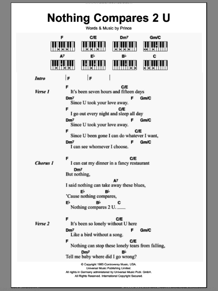 Nothing Compares 2 U sheet music for piano solo (chords, lyrics, melody) by Sinead O'Connor and Prince, intermediate piano (chords, lyrics, melody)