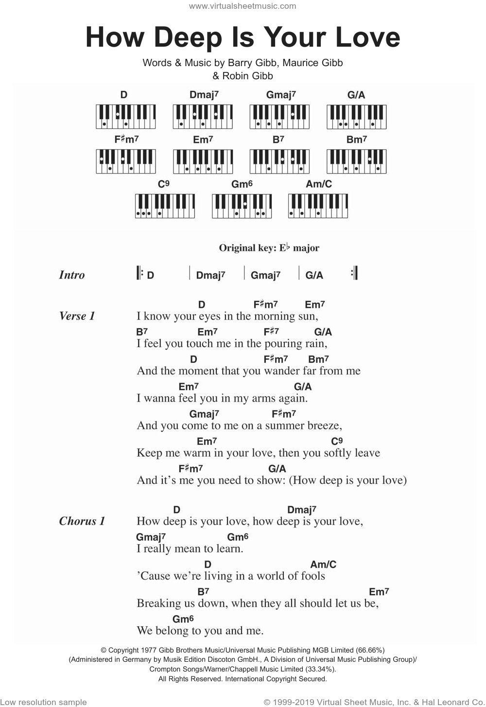 How Deep Is Your Love sheet music for piano solo (chords, lyrics, melody) by Bee Gees, Barry Gibb, Maurice Gibb and Robin Gibb, intermediate piano (chords, lyrics, melody). Score Image Preview.