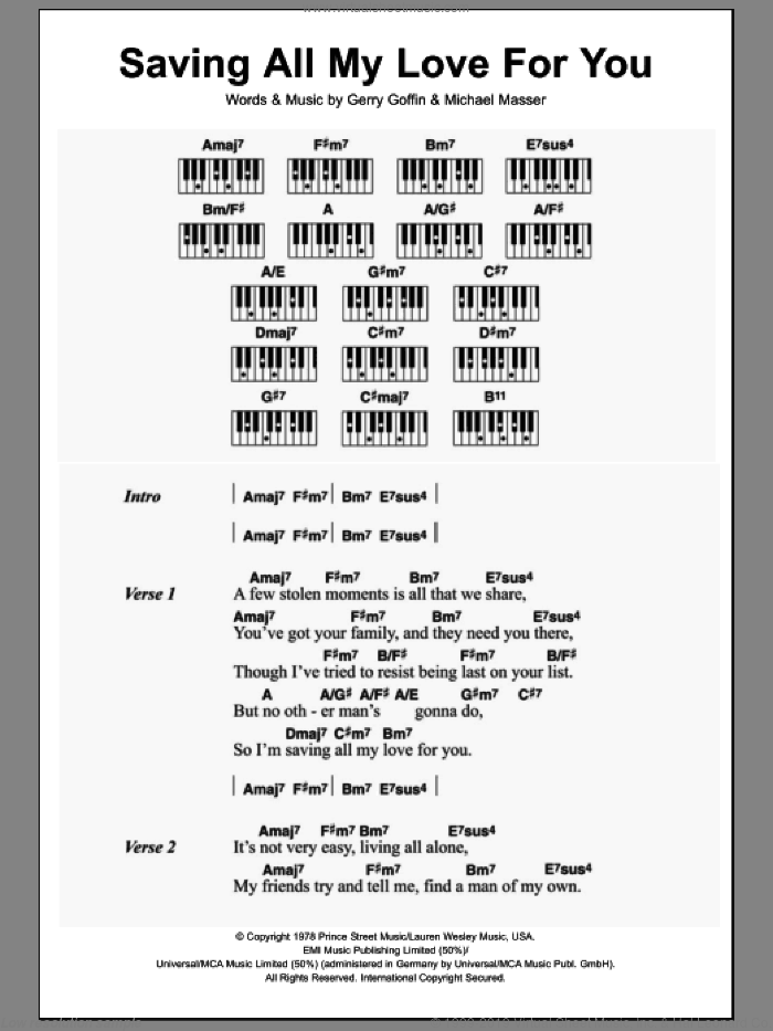 Saving All My Love For You sheet music for piano solo (chords, lyrics, melody) by Whitney Houston, Gerry Goffin and Michael Masser, intermediate piano (chords, lyrics, melody)