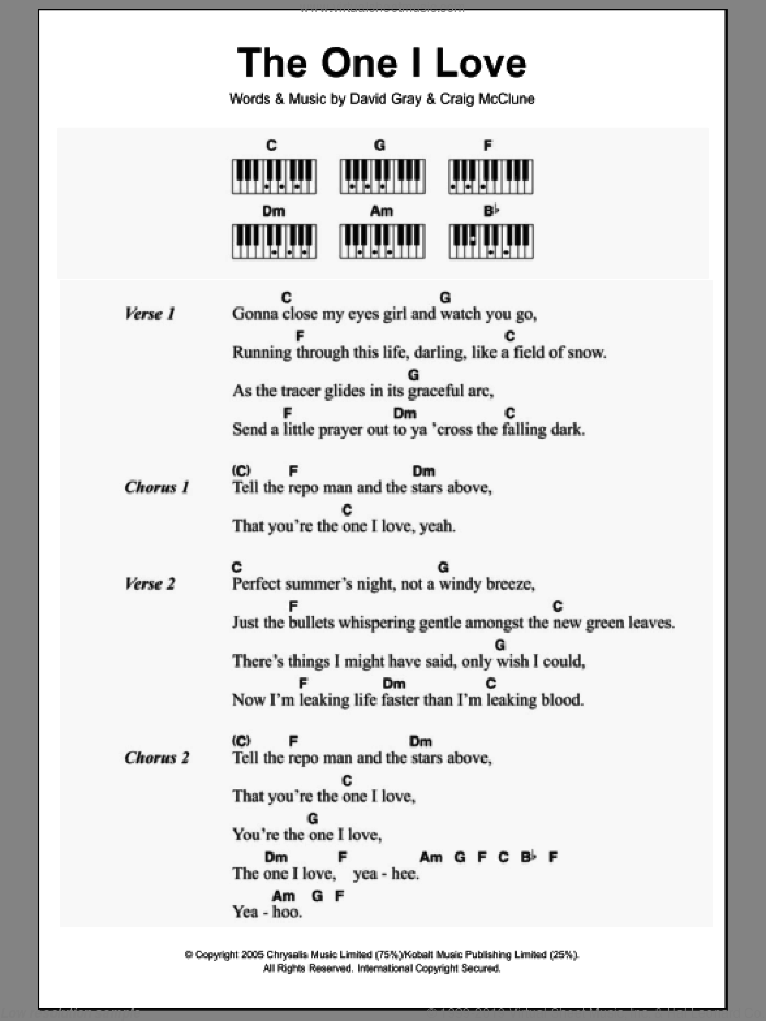 The One I Love sheet music for piano solo (chords, lyrics, melody) by Craig McClune and David Gray. Score Image Preview.