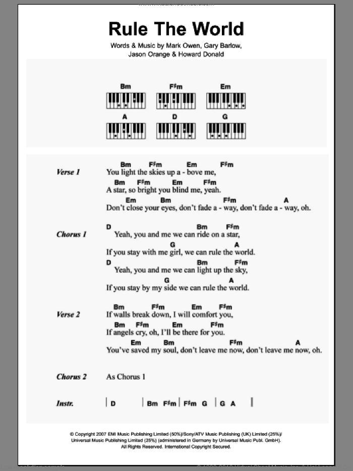Rule The World sheet music for piano solo (chords, lyrics, melody) by Mark Owen, Take That and Gary Barlow. Score Image Preview.