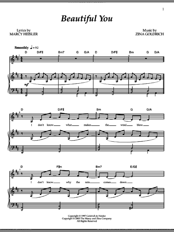 Beautiful You sheet music for voice and piano by Goldrich & Heisler, Marcy Heisler and Zina Goldrich, intermediate skill level
