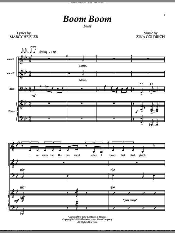 Boom Boom sheet music for voice and piano by Zina Goldrich