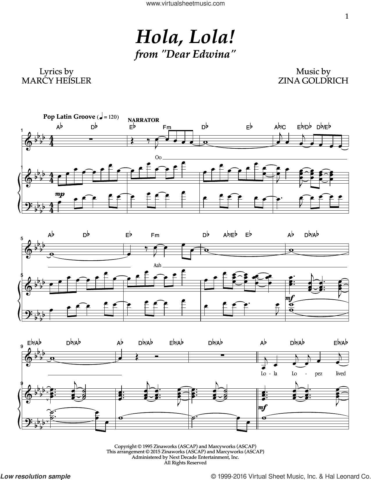 Hola, Lola! sheet music for voice and piano by Zina Goldrich, Goldrich & Heisler and Marcy Heisler. Score Image Preview.