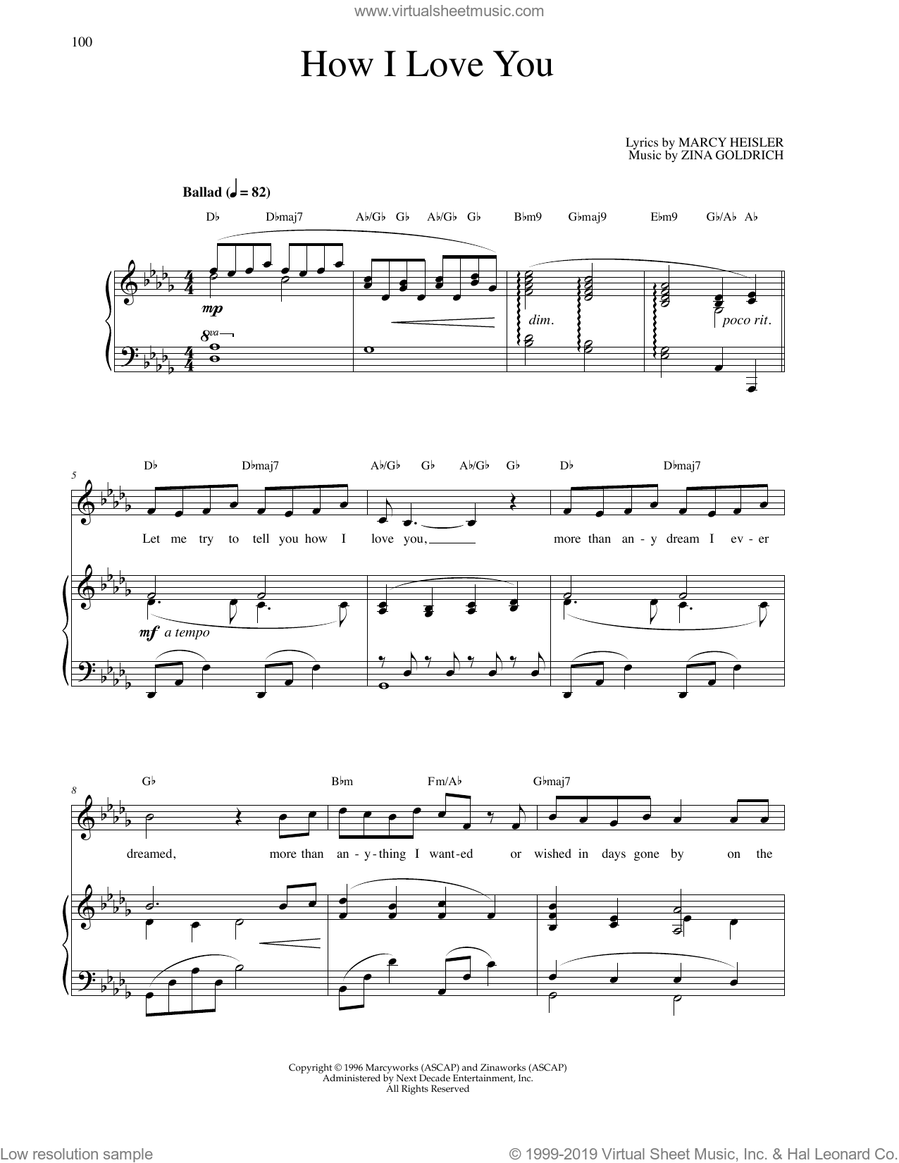 How I Love You sheet music for voice and piano by Zina Goldrich, Goldrich & Heisler and Marcy Heisler. Score Image Preview.