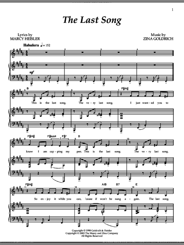 The Last Song sheet music for voice and piano by Goldrich & Heisler, Marcy Heisler and Zina Goldrich, intermediate