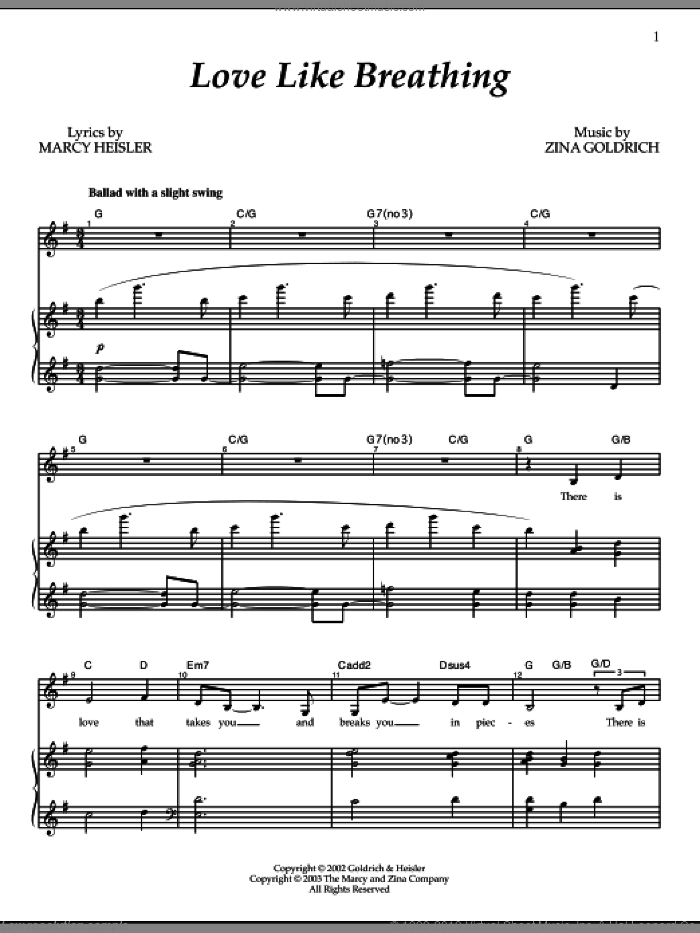 Love Like Breathing sheet music for voice and piano by Goldrich & Heisler, Marcy Heisler and Zina Goldrich, intermediate. Score Image Preview.