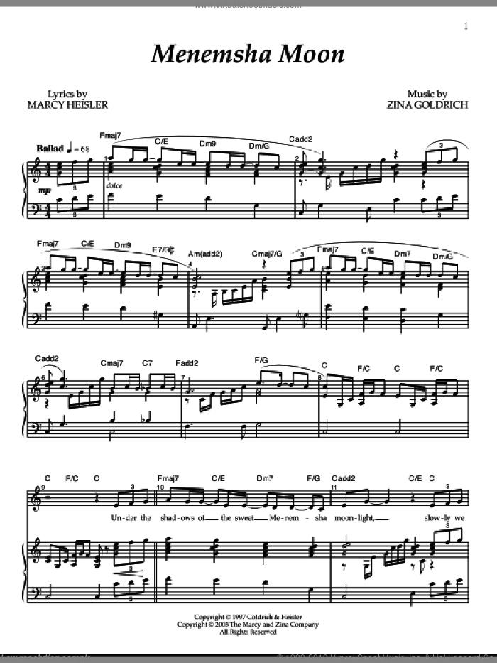 Menemsha Moon sheet music for voice and piano by Goldrich & Heisler, Marcy Heisler and Zina Goldrich, intermediate skill level