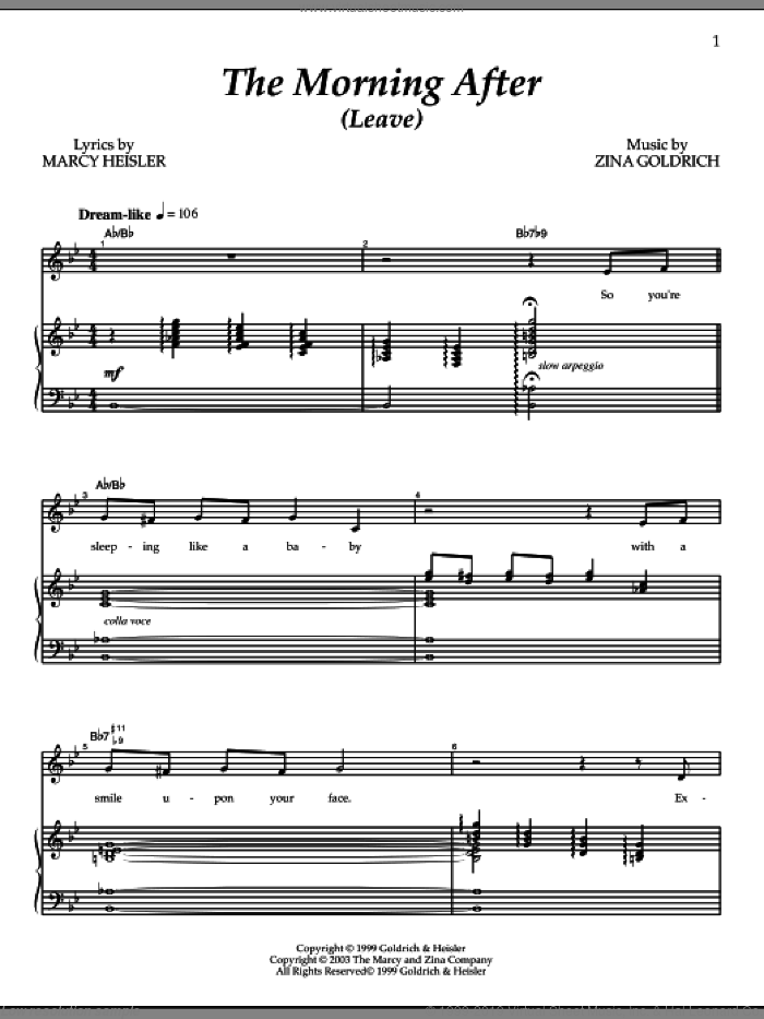 The Morning After (Leave) sheet music for voice and piano by Goldrich & Heisler, Marcy Heisler and Zina Goldrich, intermediate skill level