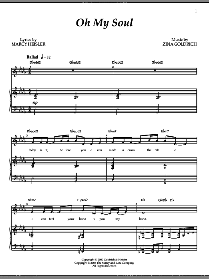 Oh My Soul sheet music for voice and piano by Goldrich & Heisler. Score Image Preview.