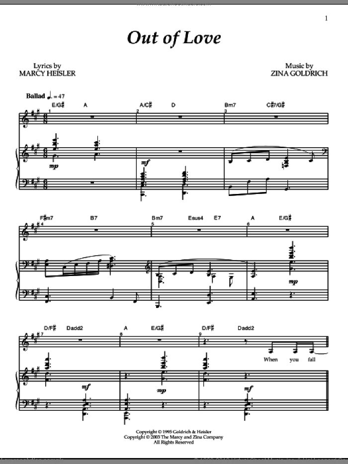 Out Of Love sheet music for voice and piano by Goldrich & Heisler. Score Image Preview.