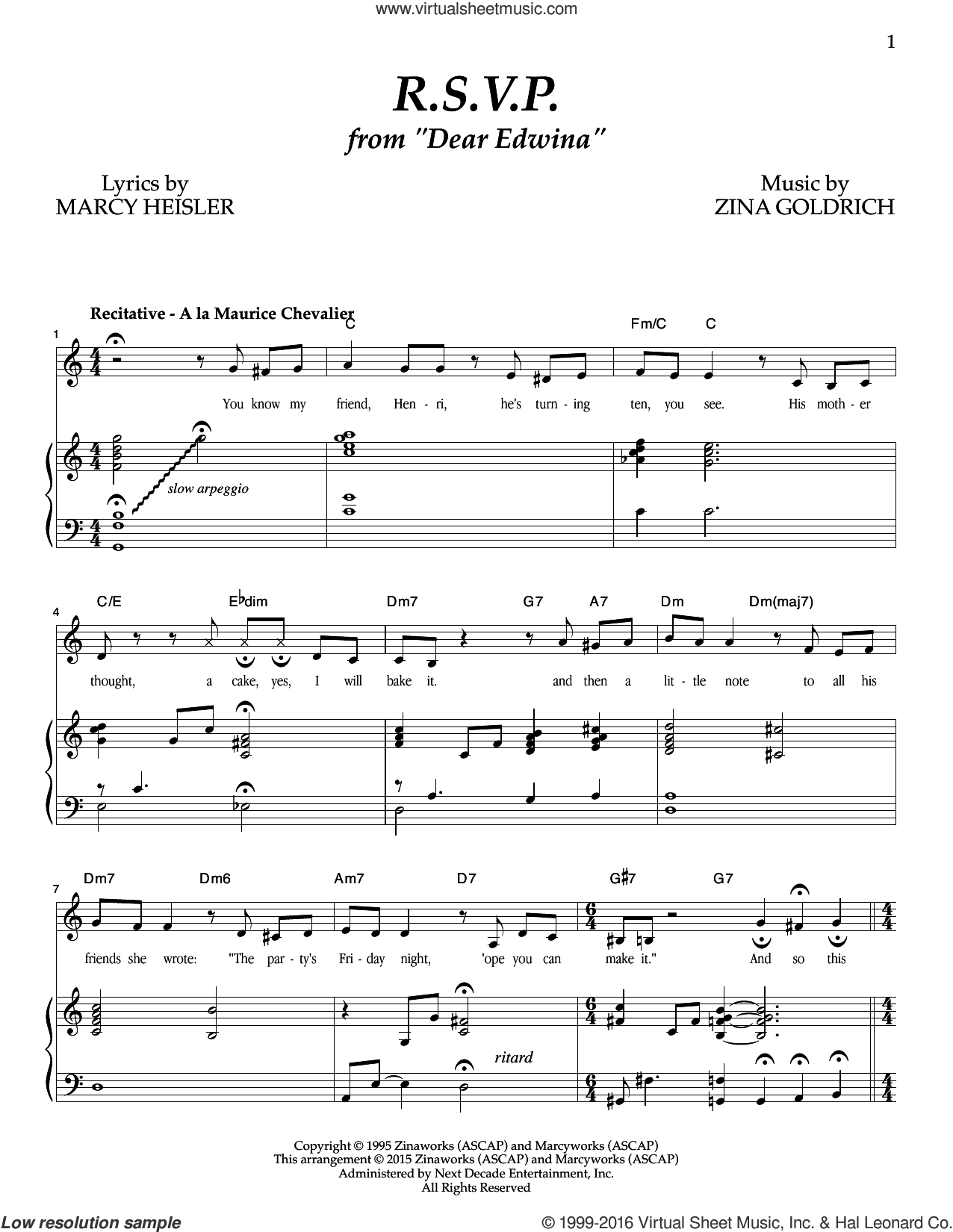 R.S.V.P. sheet music for voice and piano by Goldrich & Heisler, Marcy Heisler and Zina Goldrich, intermediate skill level