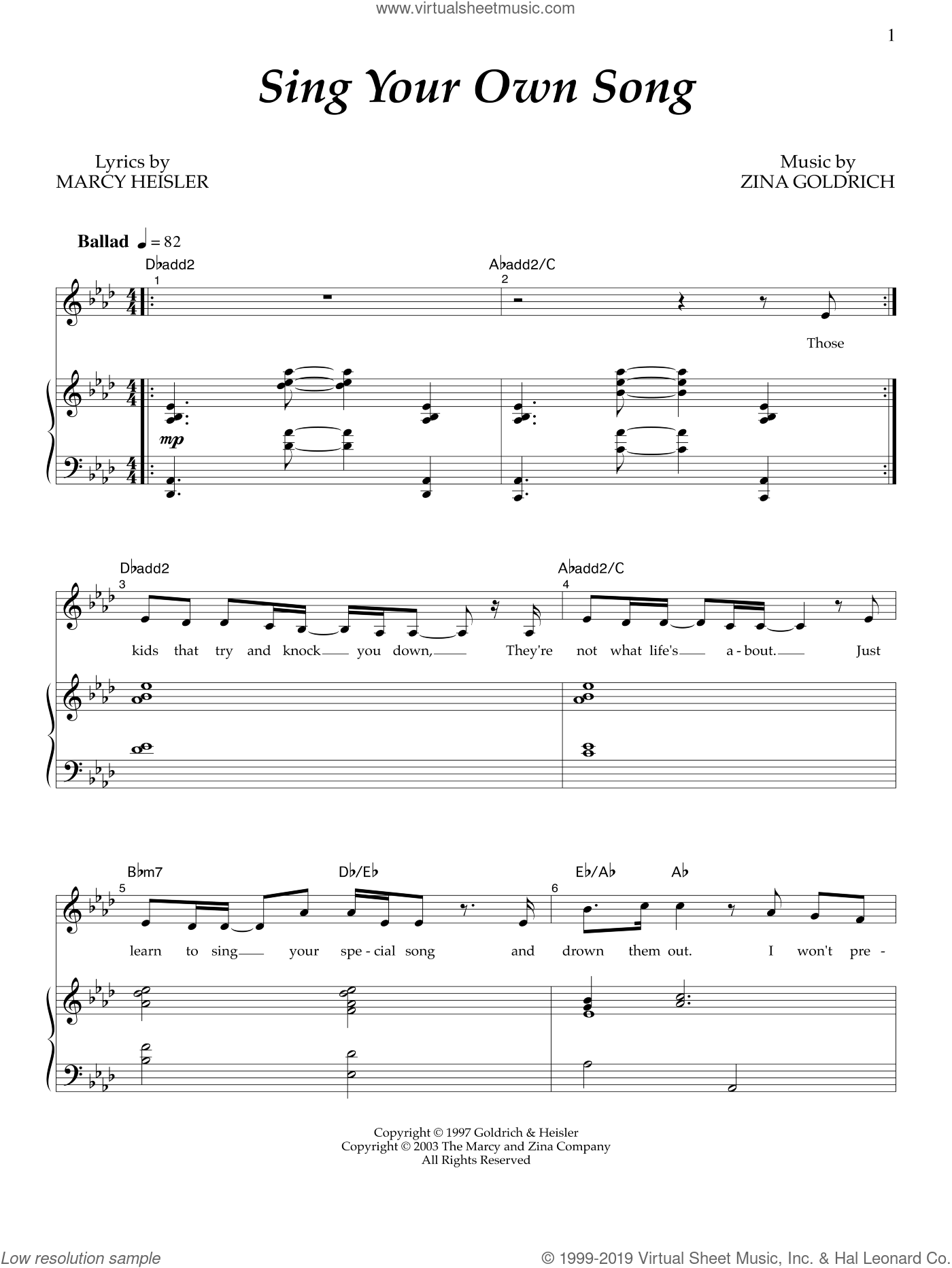 Sing Your Own Song sheet music for voice and piano by Marcy Heisler, Goldrich & Heisler and Zina Goldrich. Score Image Preview.