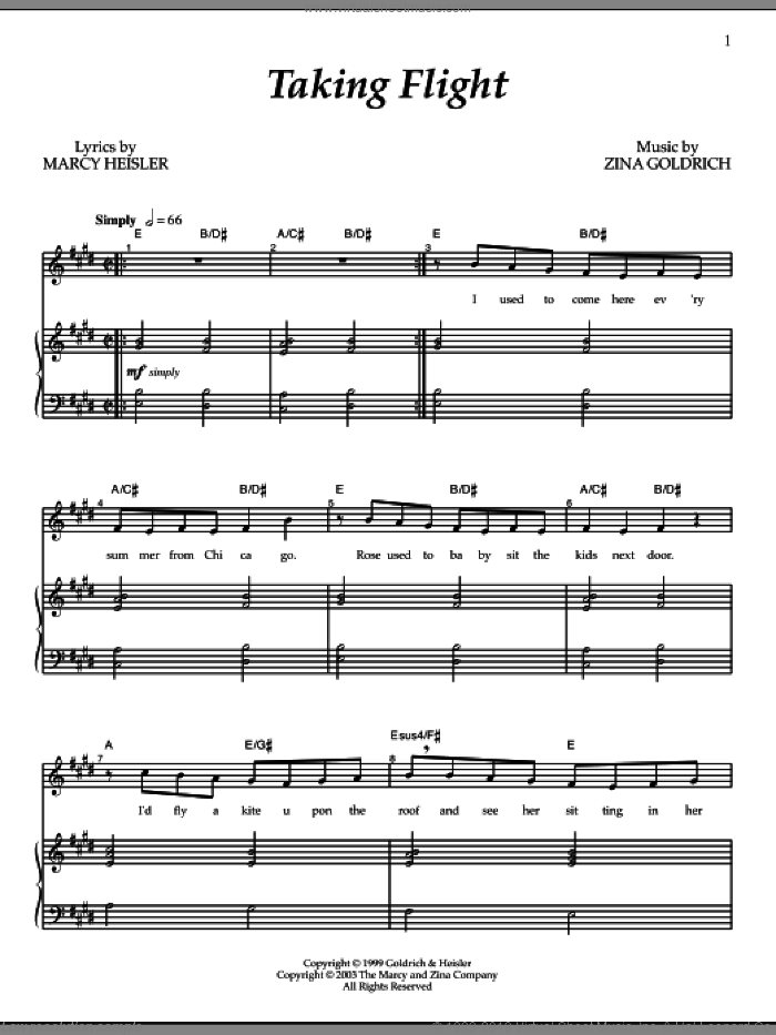 Taking Flight sheet music for voice and piano by Zina Goldrich, Goldrich & Heisler and Marcy Heisler. Score Image Preview.