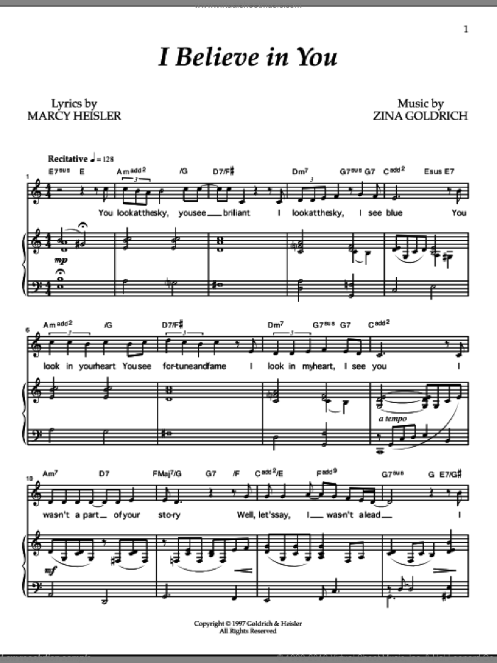 I Believe In You sheet music for voice and piano by Goldrich & Heisler, Marcy Heisler and Zina Goldrich, intermediate