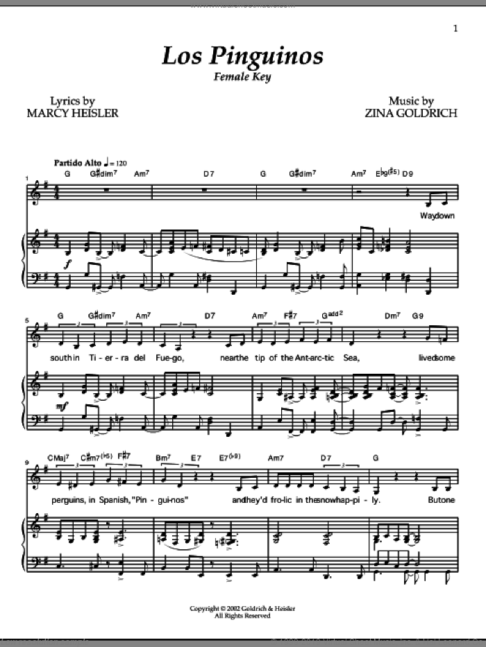 Los Pinguinos (Female Key) sheet music for voice and piano by Goldrich & Heisler, Marcy Heisler and Zina Goldrich, intermediate. Score Image Preview.