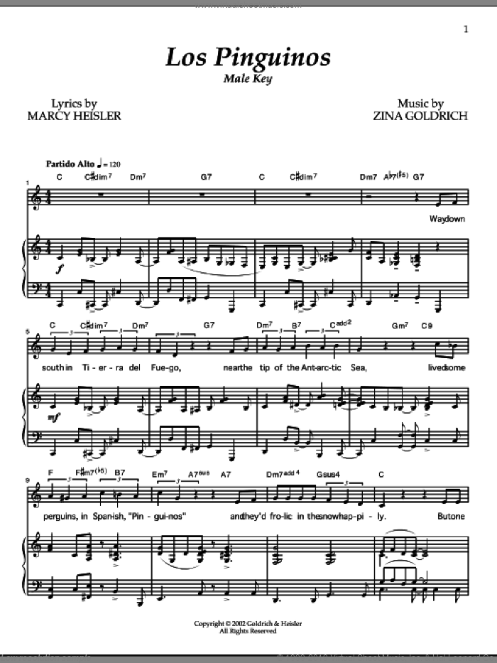 Los Pinguinos (Male Key) sheet music for voice and piano by Zina Goldrich, Goldrich & Heisler and Marcy Heisler. Score Image Preview.