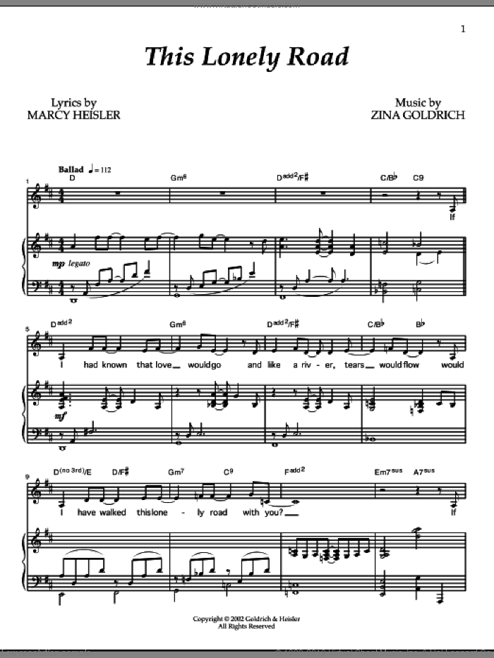 This Lonely Road sheet music for voice and piano by Zina Goldrich, Goldrich & Heisler and Marcy Heisler. Score Image Preview.