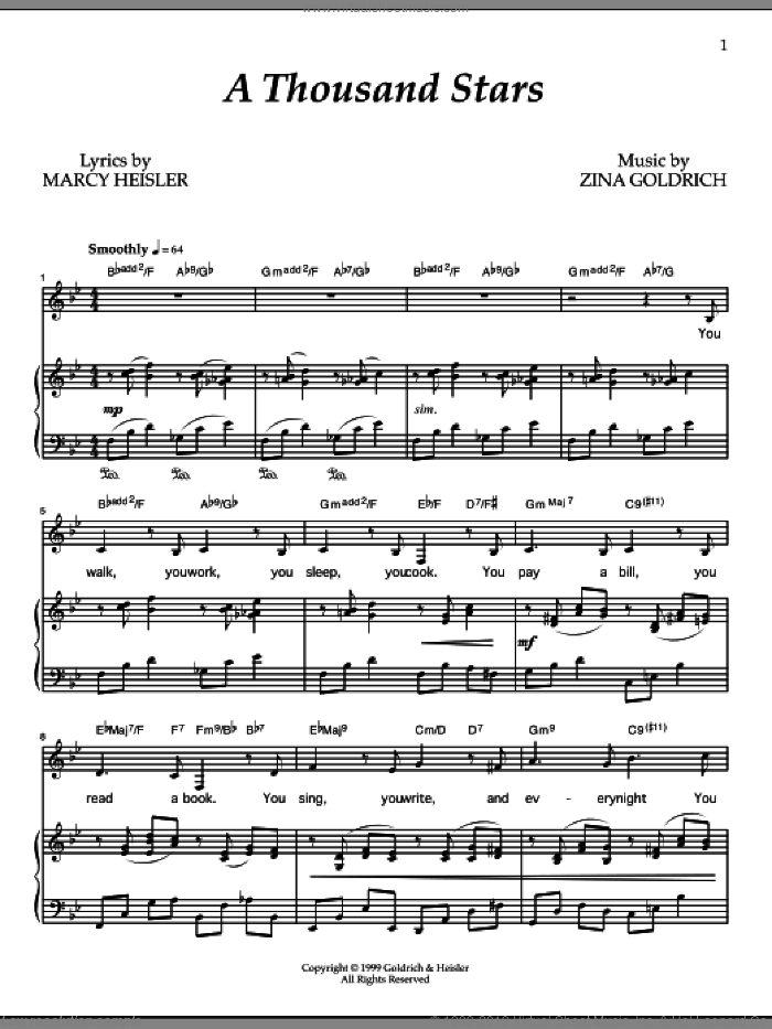 A Thousand Stars sheet music for voice and piano by Zina Goldrich
