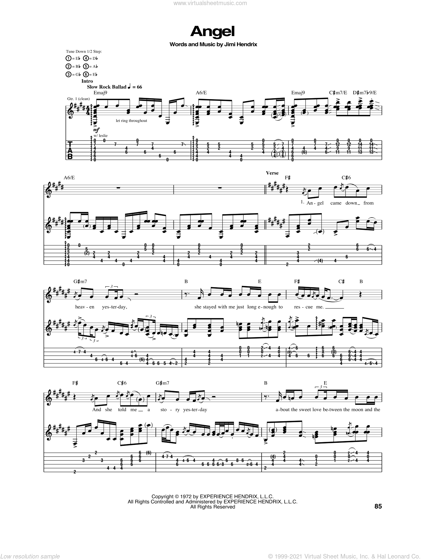 Angel sheet music for guitar (tablature) by Jimi Hendrix, intermediate. Score Image Preview.