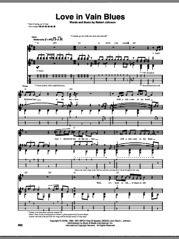 Love In Vain Blues sheet music for guitar (tablature) by Robert Johnson. Score Image Preview.