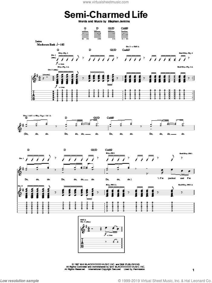 Semi-Charmed Life sheet music for guitar (tablature) by Stephan Jenkins and Third Eye Blind. Score Image Preview.