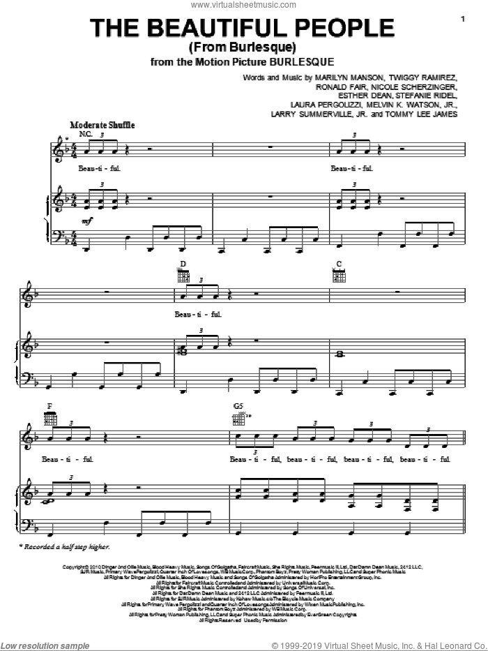 The Beautiful People (from Burlesque) sheet music for voice, piano or guitar by Christina Aguilera, Ester Dean, Marilyn Manson and Tommy Lee James