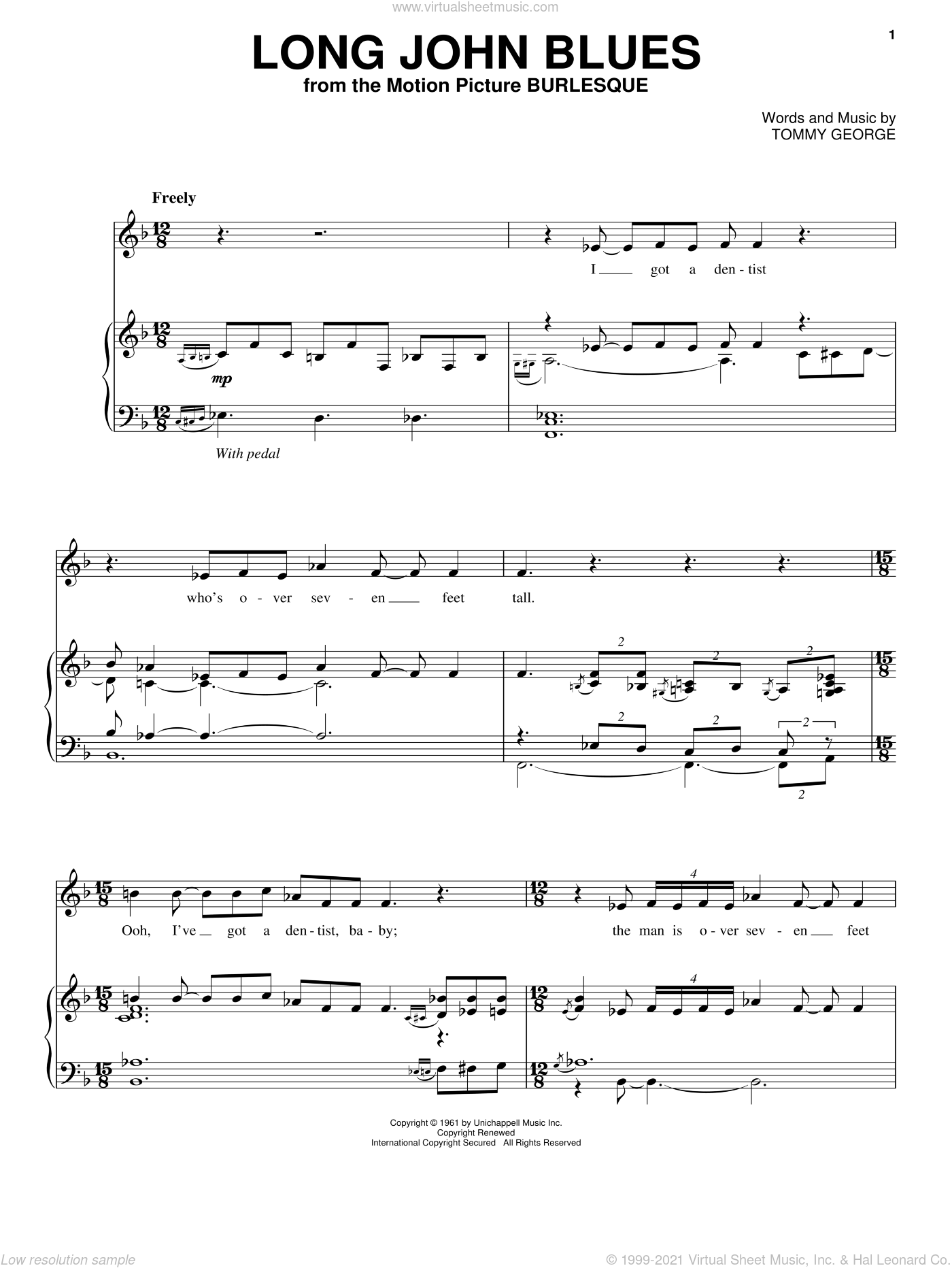 Long John Blues sheet music for voice, piano or guitar by Tommy George and Burlesque (Movie), intermediate skill level