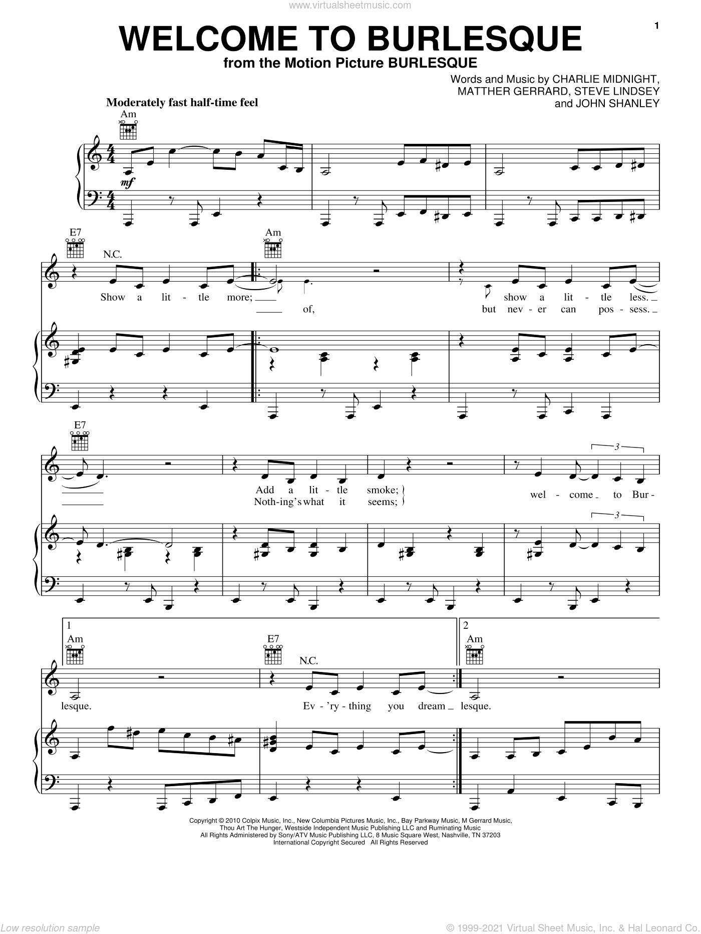 Welcome To Burlesque sheet music for voice, piano or guitar by Cher, Charlie Midnight and Matthew Gerrard. Score Image Preview.