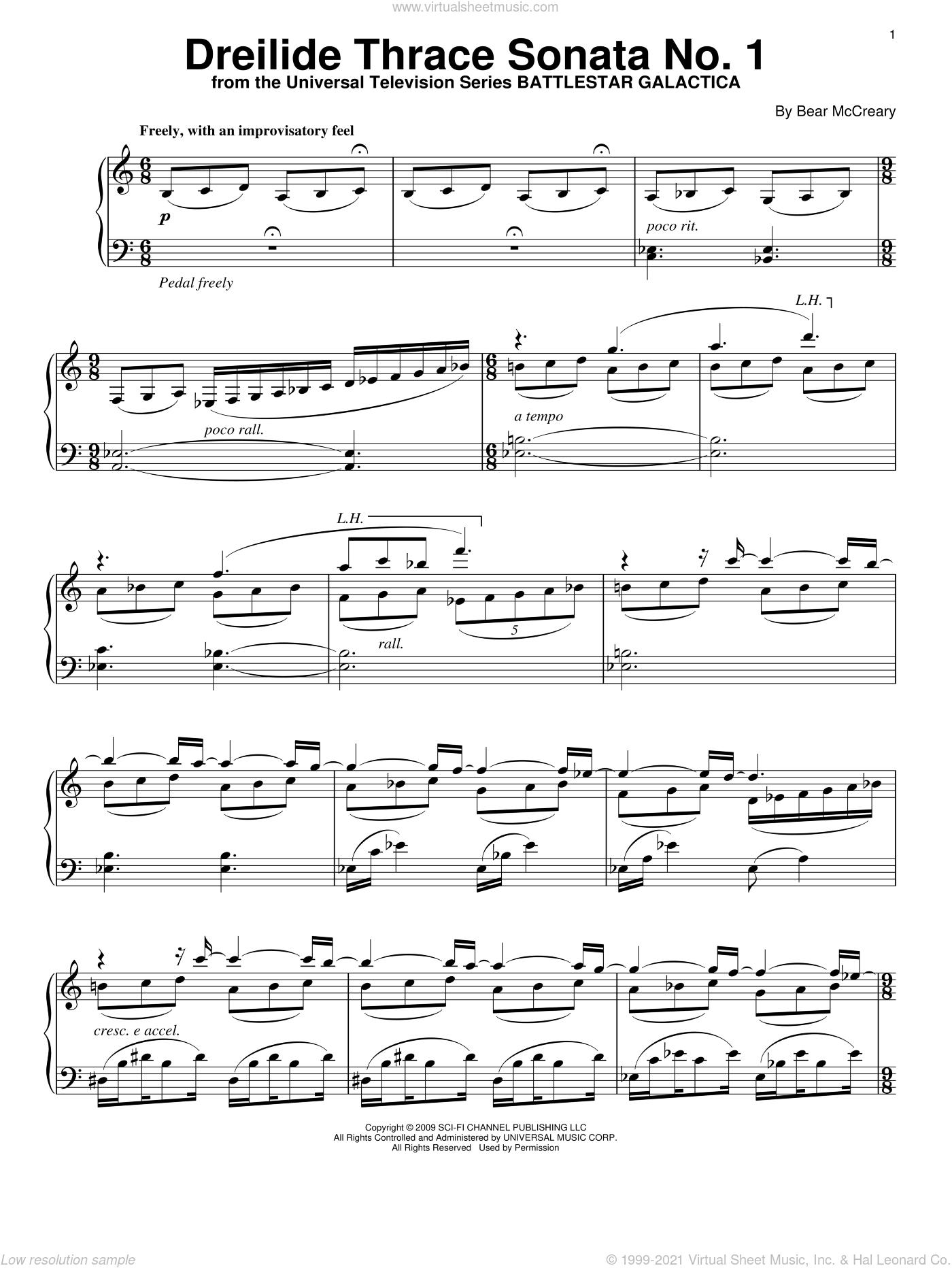 Dreilide Thrace Sonata No. 1 sheet music for piano solo by Bear McCreary and Battlestar Galactica (TV Series), intermediate skill level