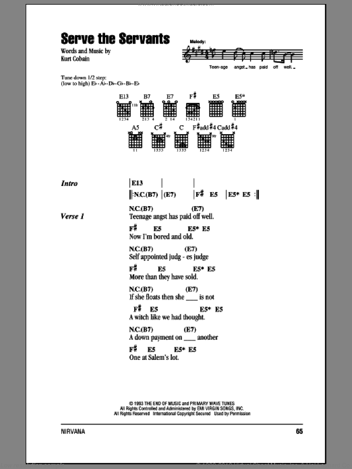 Serve The Servants sheet music for guitar (chords) by Kurt Cobain and Nirvana. Score Image Preview.