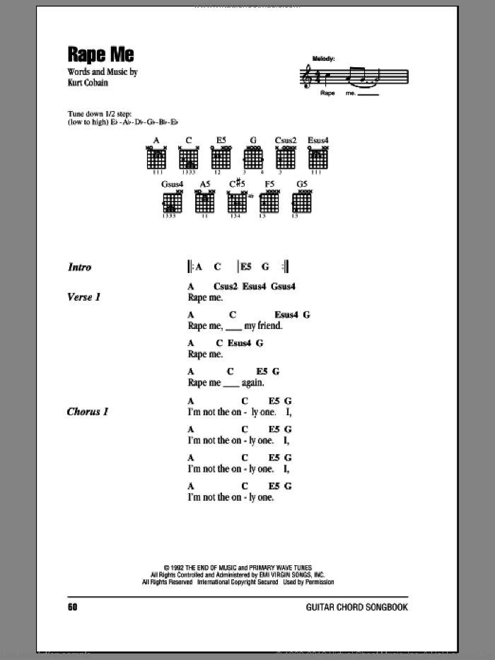 Rape Me sheet music for guitar (chords) by Nirvana and Kurt Cobain, intermediate