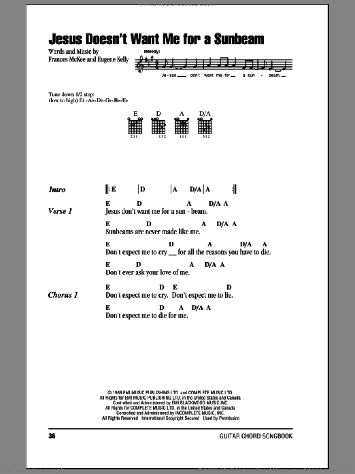 Jesus Doesn't Want Me For A Sunbeam sheet music for guitar (chords) by Nirvana, Eugene Kelly and Frances McKee, intermediate skill level