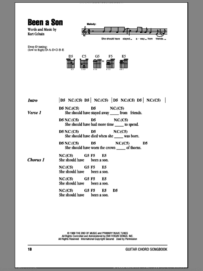 Been A Son sheet music for guitar (chords) by Nirvana and Kurt Cobain, intermediate. Score Image Preview.