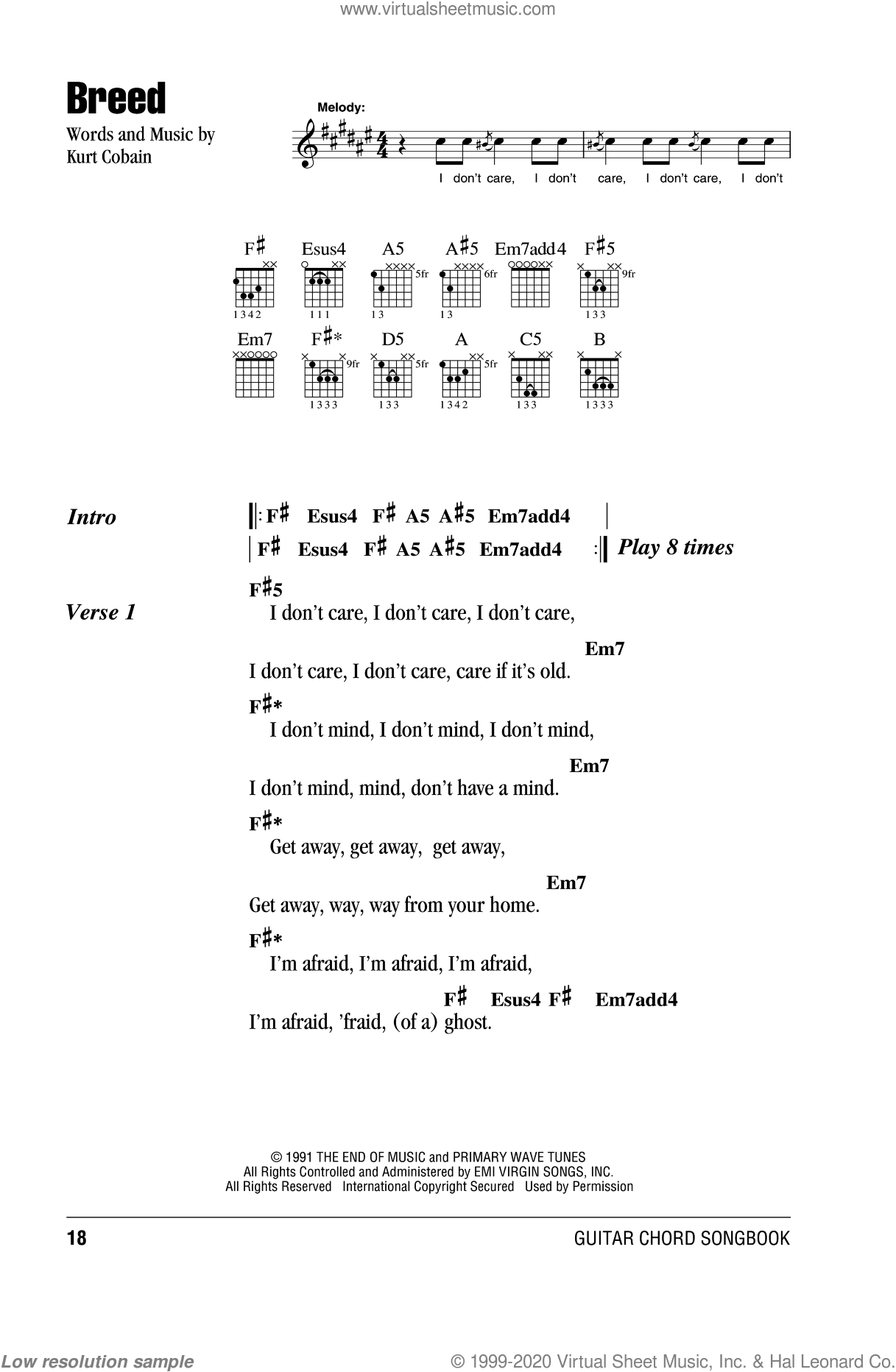 Breed sheet music for guitar (chords, lyrics, melody) by Kurt Cobain