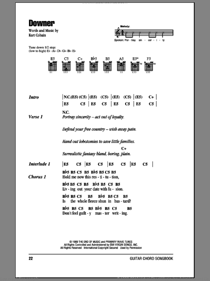 Downer sheet music for guitar (chords) by Kurt Cobain and Nirvana. Score Image Preview.
