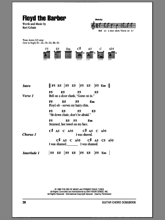 Floyd The Barber sheet music for guitar (chords) by Nirvana and Kurt Cobain, intermediate skill level