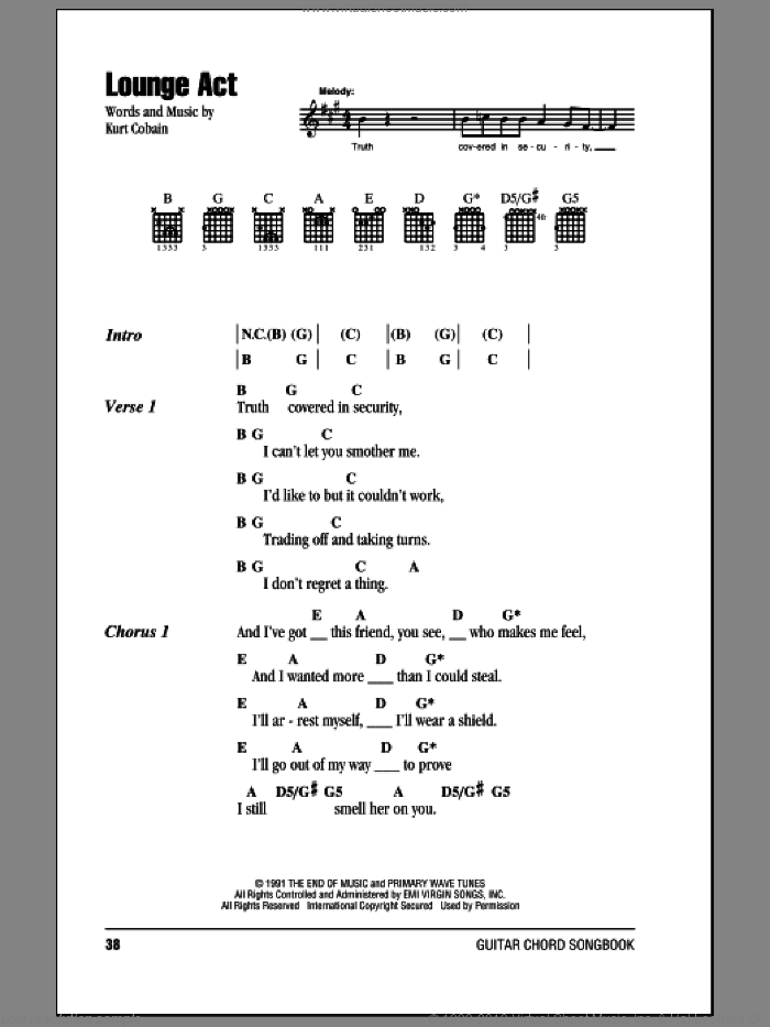 Lounge Act sheet music for guitar (chords) by Nirvana. Score Image Preview.