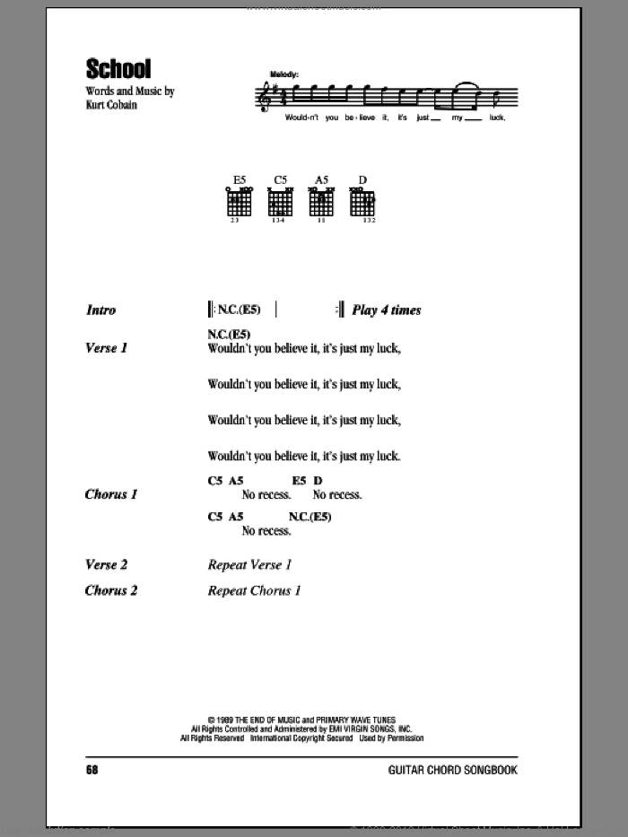 School sheet music for guitar (chords) by Nirvana and Kurt Cobain, intermediate. Score Image Preview.