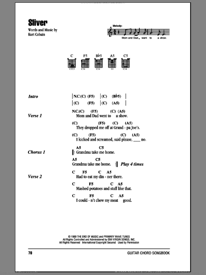 Sliver sheet music for guitar (chords) by Nirvana, intermediate guitar (chords). Score Image Preview.