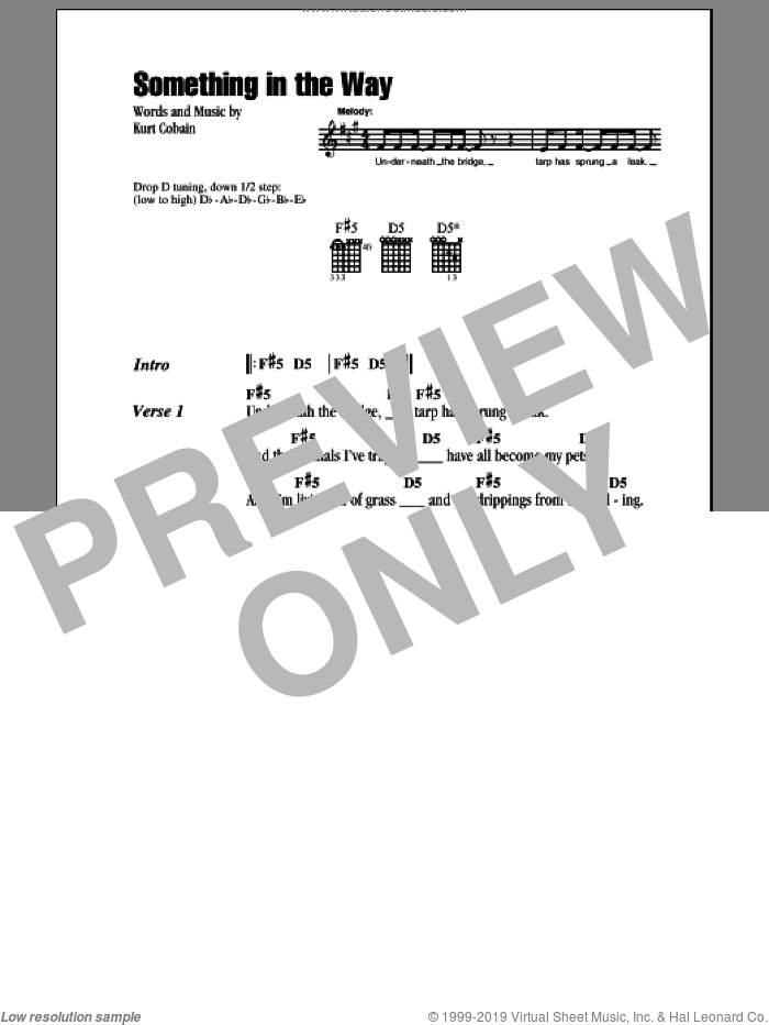 Something In The Way sheet music for guitar (chords) by Nirvana. Score Image Preview.