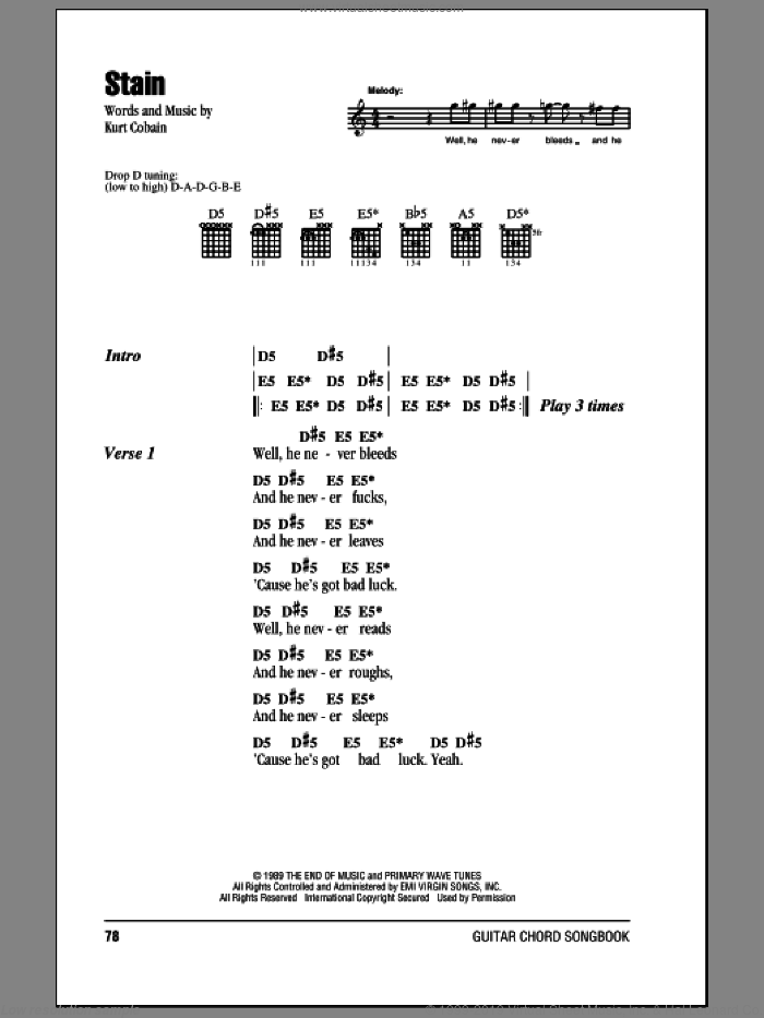 Stain sheet music for guitar (chords) by Nirvana and Kurt Cobain, intermediate