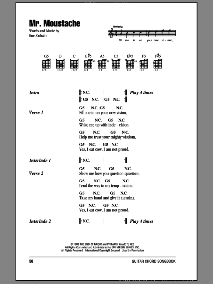 Mr. Moustache sheet music for guitar (chords) by Nirvana and Kurt Cobain, intermediate skill level