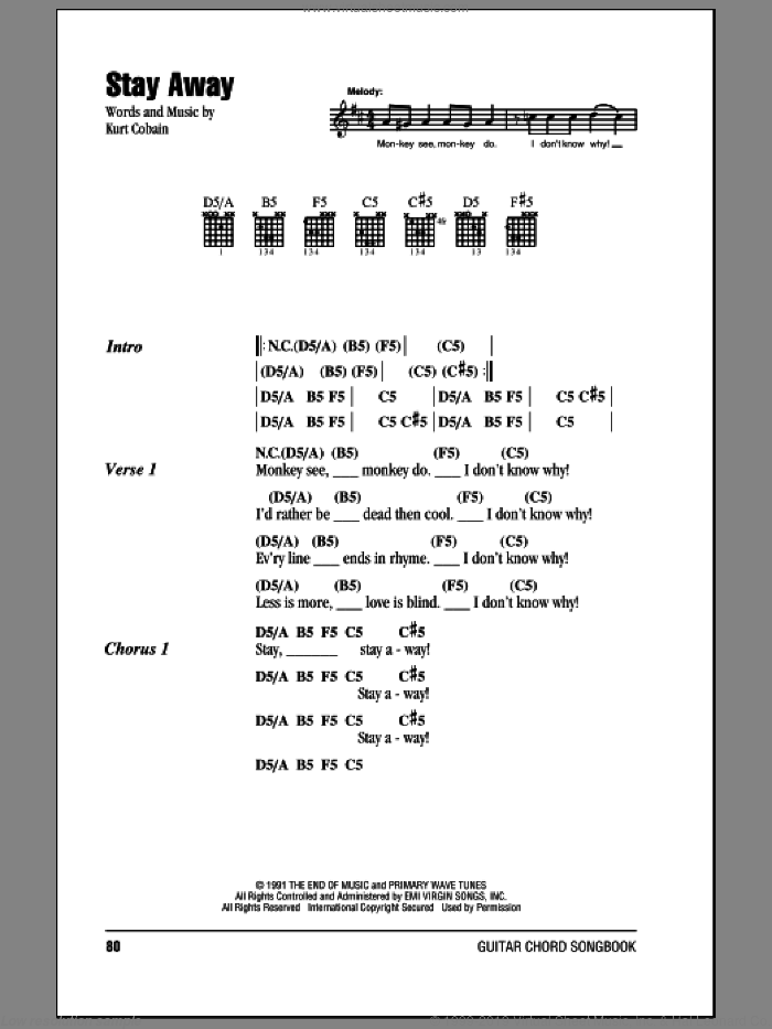 Stay Away sheet music for guitar (chords) by Kurt Cobain and Nirvana. Score Image Preview.