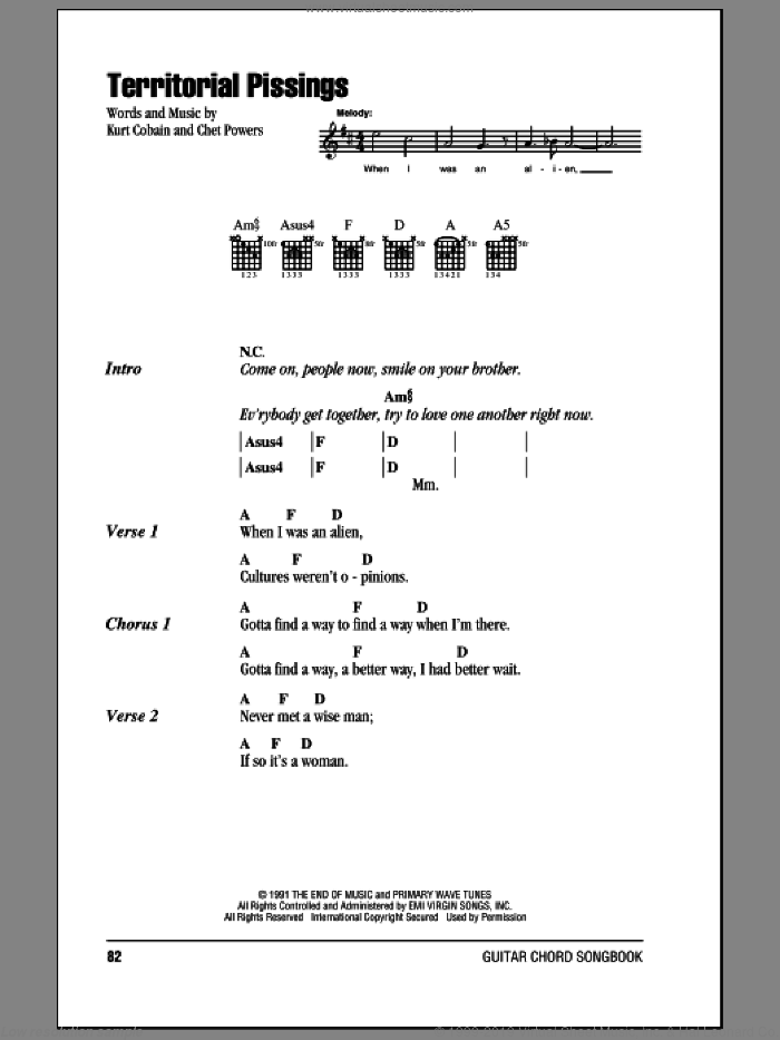 Territorial Pissings sheet music for guitar (chords) by Kurt Cobain, Nirvana and Chet Powers. Score Image Preview.