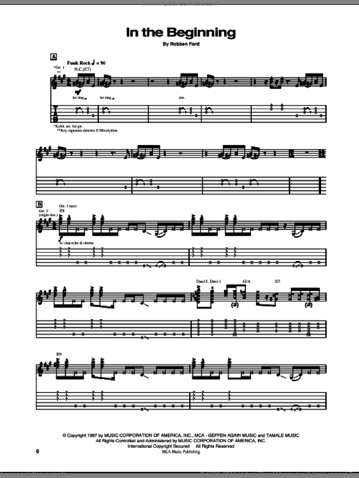 In The Beginning sheet music for guitar (tablature) by Robben Ford. Score Image Preview.