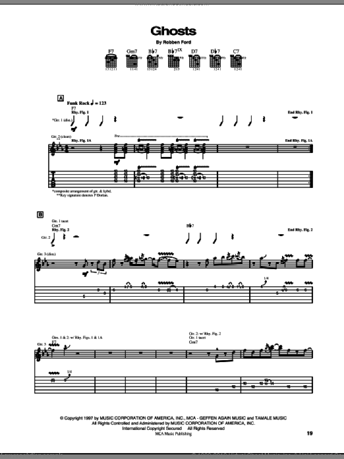 Ghosts sheet music for guitar (tablature) by Robben Ford, intermediate skill level