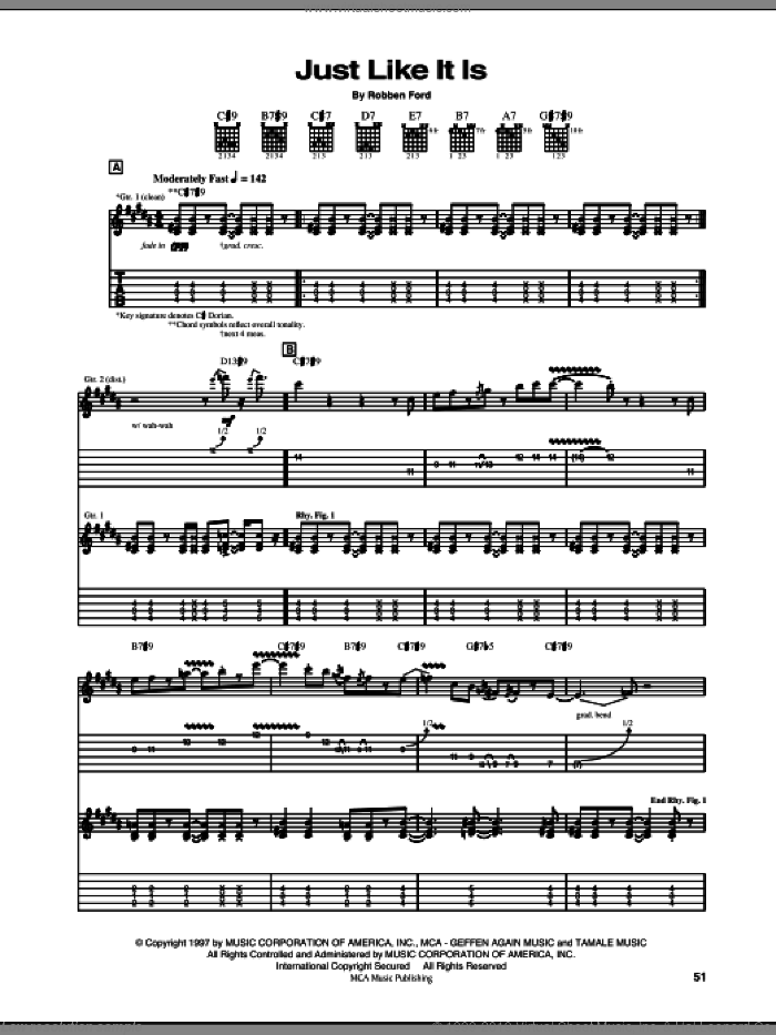 Just Like It Is sheet music for guitar (tablature) by Robben Ford. Score Image Preview.