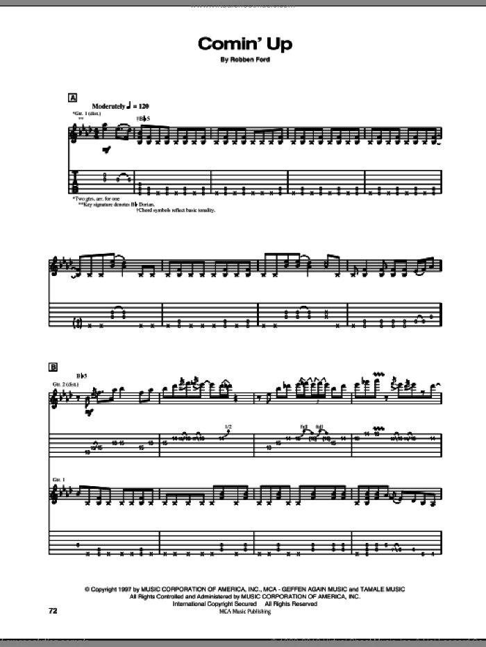 Comin' Up sheet music for guitar (tablature) by Robben Ford, intermediate